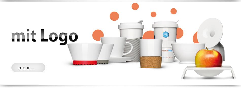 Schöne Porzellan Werbeartikel mit Logo von München-Werbeartikel