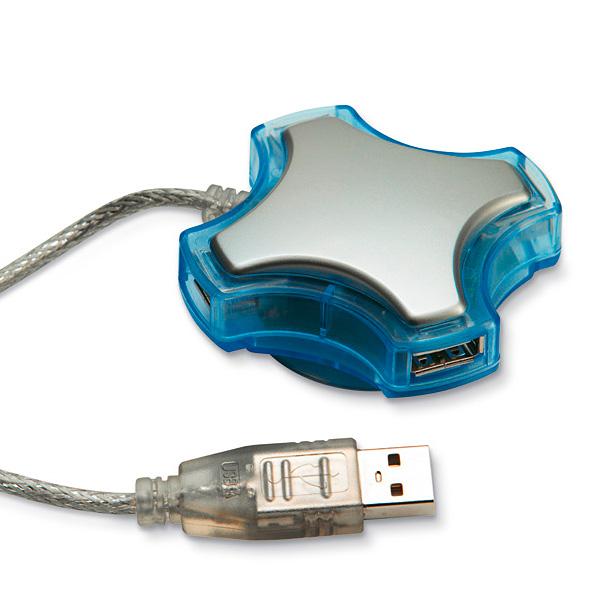 USB Hub mit USB Kabel 4 fach (bedruckbar)