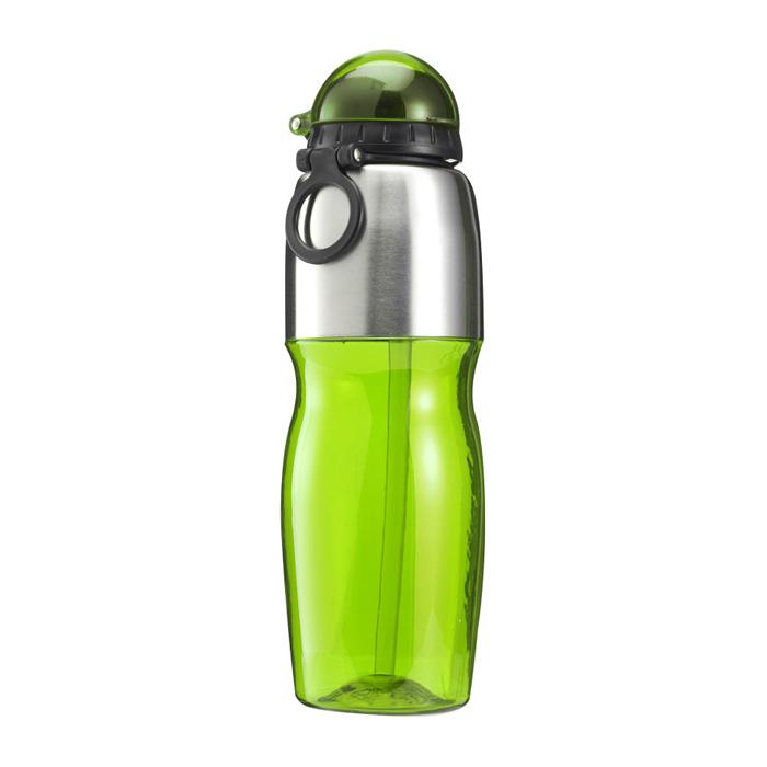 Kunststoff Trinkflasche mit Schnellverschluss und Strohhalm (bedruckbar als Werbeartikel)