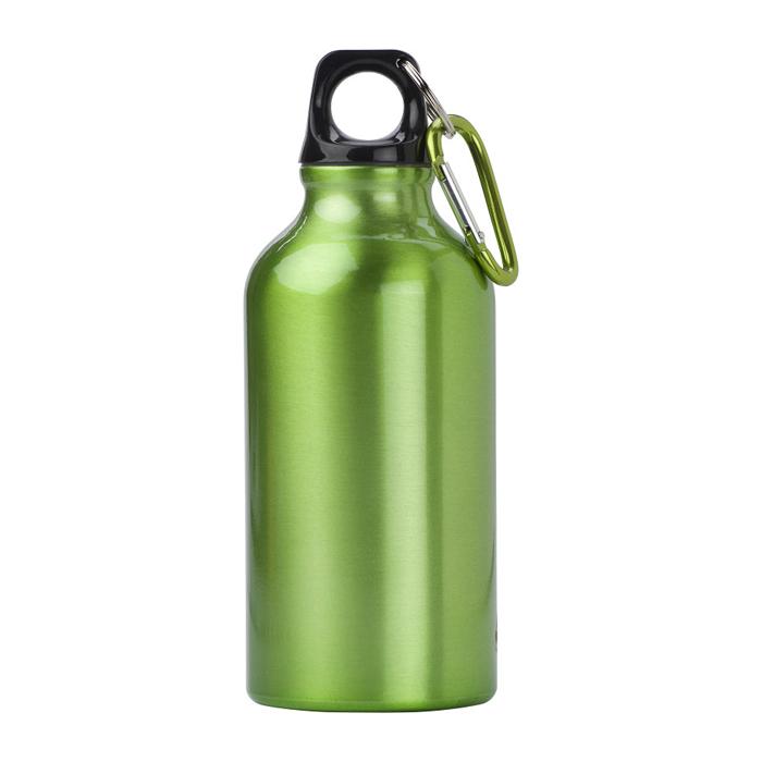 Trinkflasche aus Aluminium einfarbig mit Karabiner (bedruckbar)