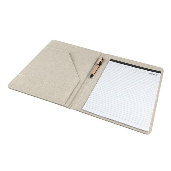 Notizbuch aus Jute / Baumwolle DIN A4 mit Kugelschreiber zum Bedrucken