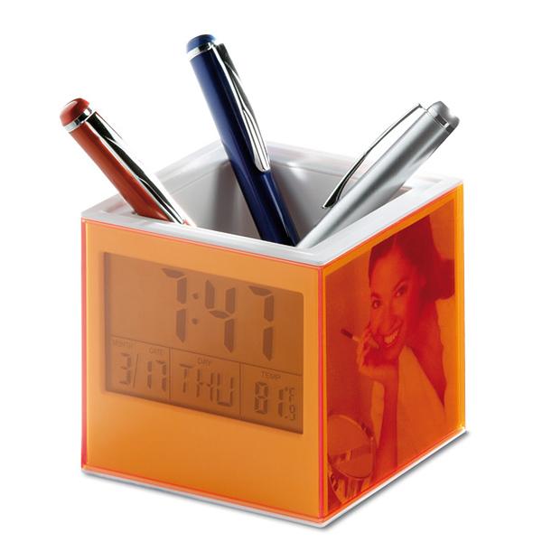 Stiftbocx mit Uhr und Thermometer (bedruckbar)