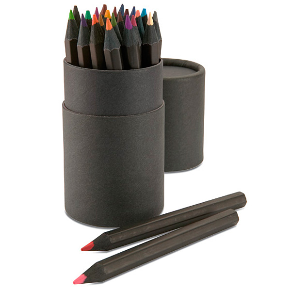 Buntstifte Set in Dose in schwarz (bedrucken als Werbegeschenk)