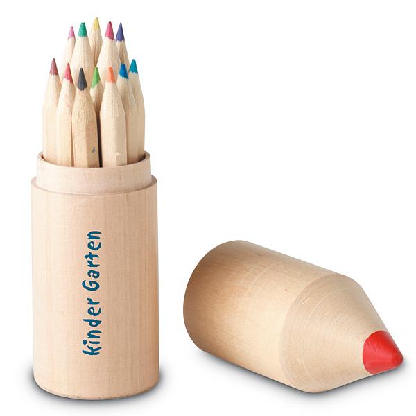 Buntstifte Set mit Holzbox als Stift (bedrucken als Werbegeschenk)