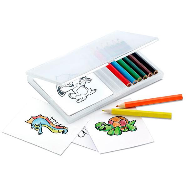 Buntstifte Set mit Block und Motiven zum Ausmalen (bedrucken als Werbeartikel)