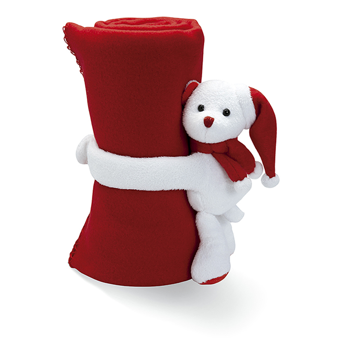 Weihnachts Fleecedecke mit Plüschbär im Abverkauf bedruckbar