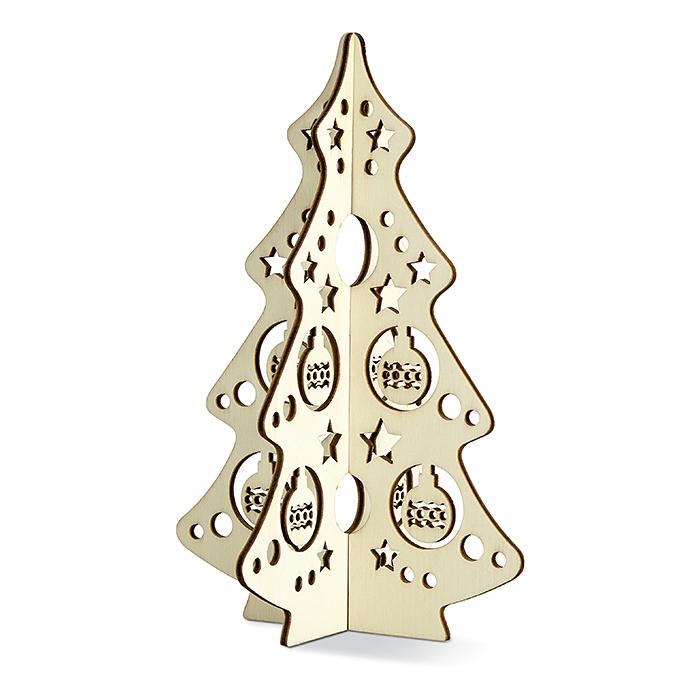 Holz-Weihnachtsbaum als Schmuck steckbar und bedruckbar
