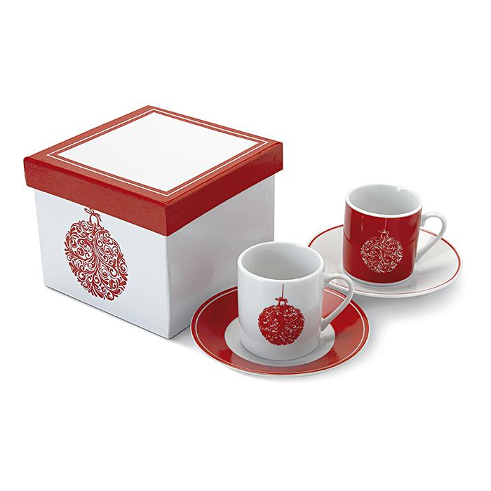 4-teiliges Espresso-Set mit Logodruck als Werbeartikel