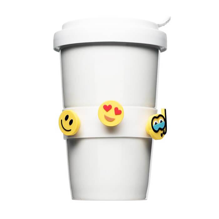 Coffee-to-go 0,42l mit 10 Emoji als Banderole zum bedrucken