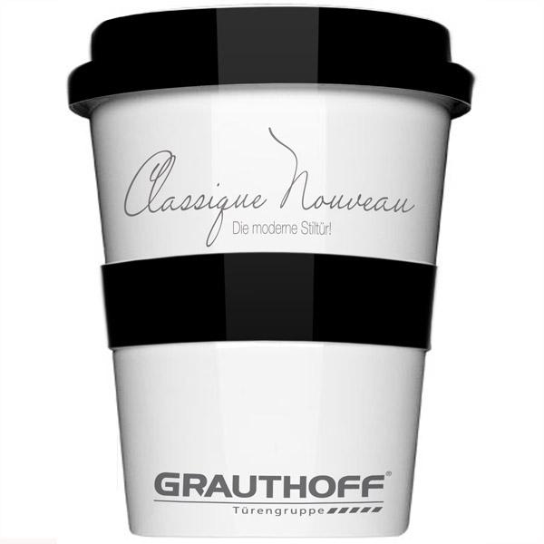 Porzellan Thermobecher Coffee2go (bedruckbar, Werbedruck, Gravur)