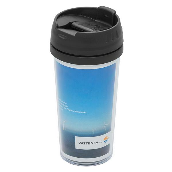 Werbegeschenk Coffee to go 0,45l Thermobecher mit Papiereinleger