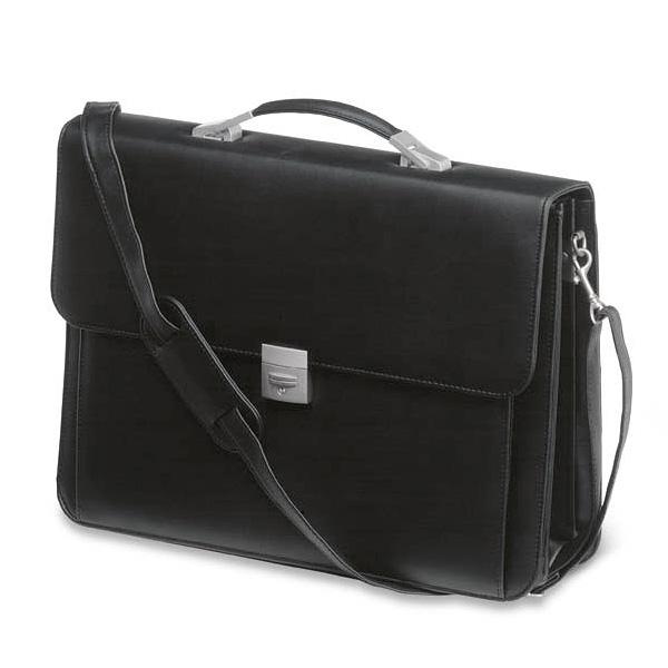 Aktentasche im Leder Design in schwarz (bedrucken als Werbegeschenk)