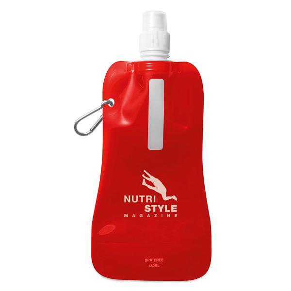 Faltbare Trinkflasche mit Karabiner als Werbeartikel zum Bedrucken