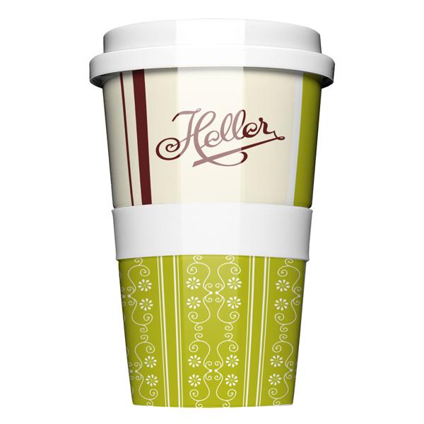 Porzellan Thermobecher Coffeetogo aus als Werbegeschenk