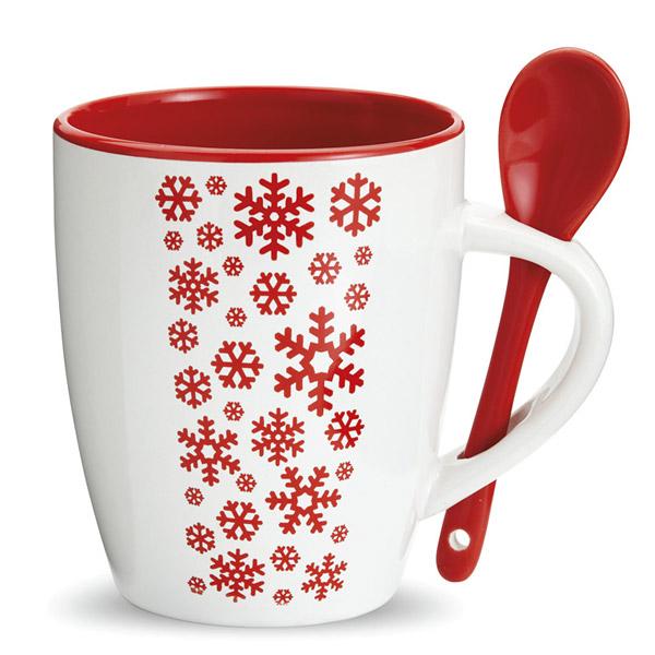Kaffeetasse mit Löffel als Werbepräsent zu Weihnachten