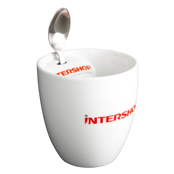 Kaffeebecher mit Kaffeelöffel als Werbeatikel