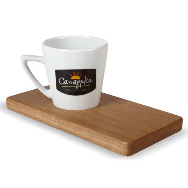 Kaffeebecher mit Holzbrett individuell bedruckbar