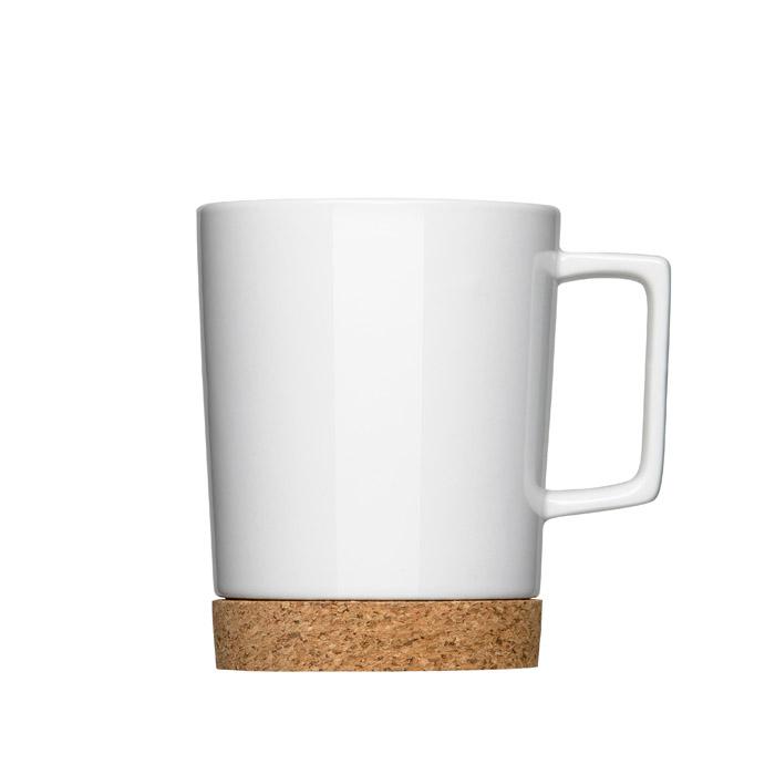 Porzellan Kaffeebecher mit Henkel und Korkfuss als Werbeartikel bedrucken