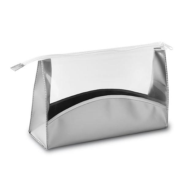 Kosmetiktasche in Silber als Werbemittel