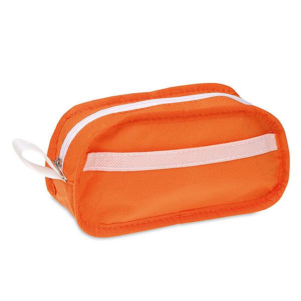 Kosmetiktasche in rot, orange, blau, schwarz (als Werbegeschenk)
