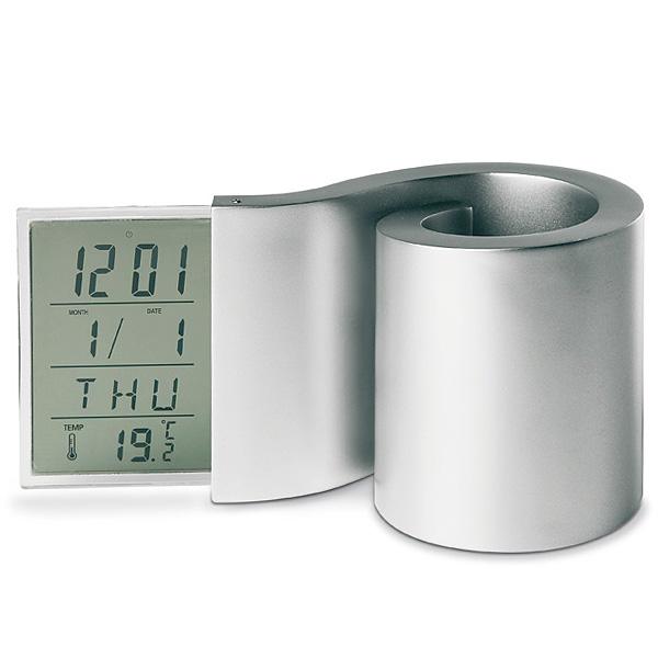 Stiftbox mit LCD-Uhr (bedrucken als Werbemittel)