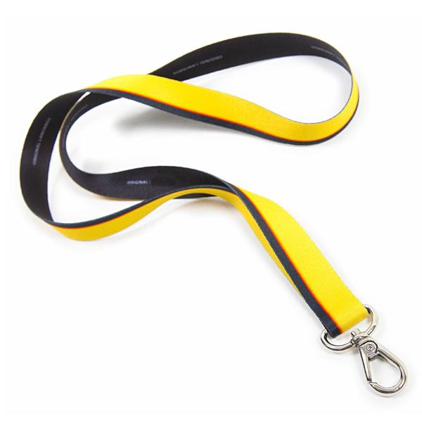 Lanyard / Schlüsselband gestreift Schwarz Gelb (bedruckbar)