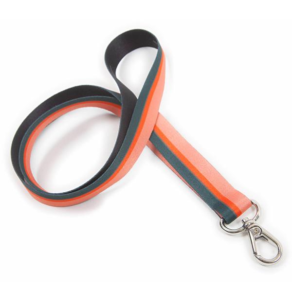 Lanyard aus Stoff gestreift mehrfarbig schwarz orange zum Bedrucken