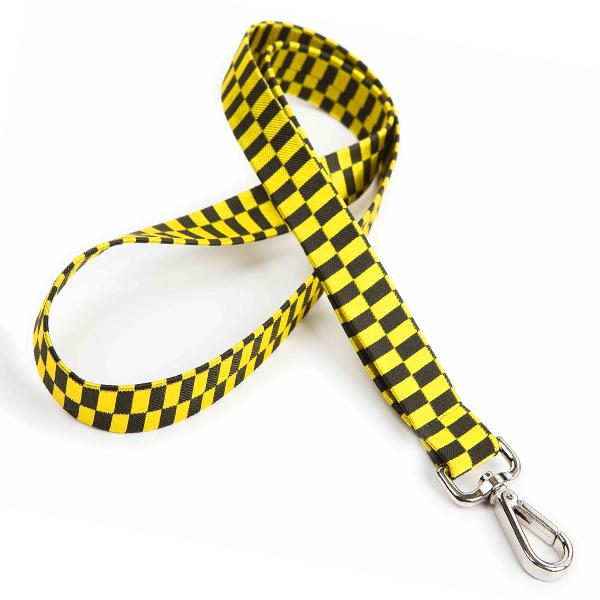 Lanyard / Schlüsselband Cord-Stoff kariert Gelb (bedruckbar)