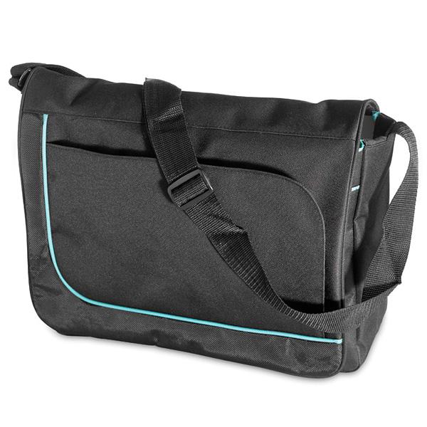 Laptop-Schultertasche in schwarz mit Schulterriemen (bedruckbar)