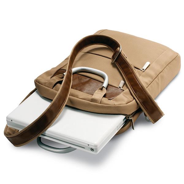 Notebook Tasche in braun – beige (bedruckbar als Werbegeschenk)