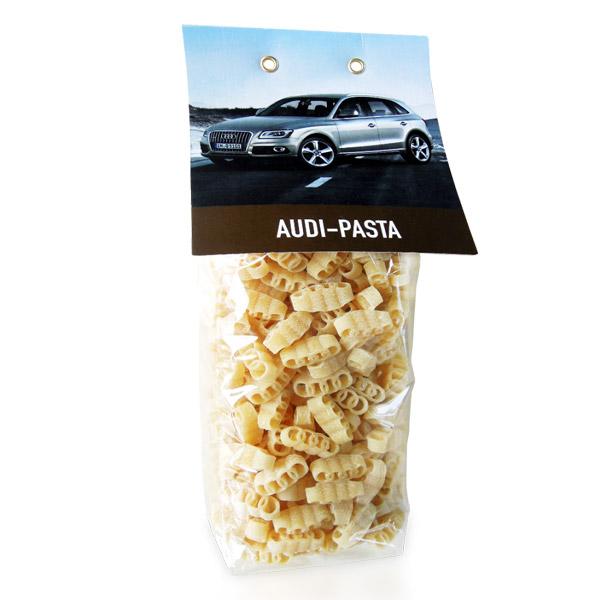 Logo als Pasta und Nudeln als Werbegeschenk und Werbepräsent