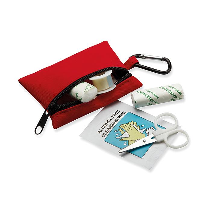 Erste-Hilfe-Set rot in kleiner Tasche mit Karabiner zum bedrucken