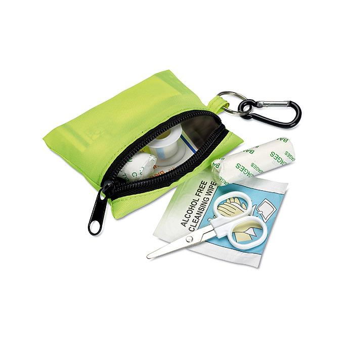 Erste-Hilfe-Set grün in kleiner Tasche mit Karabiner bedruckbar
