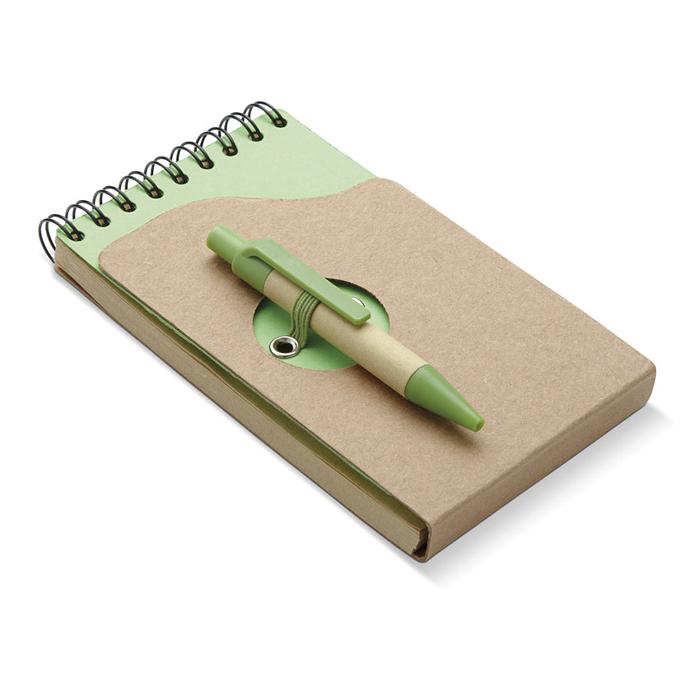 Recyceltes Notizbuch und Kugelschreiber bedruckbar
