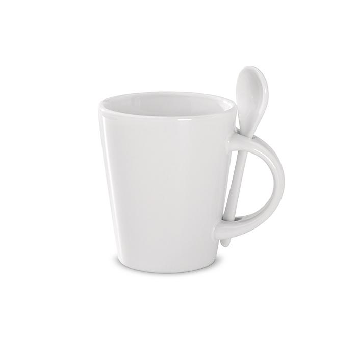 Tasse mit Löffel – bedruckbar als Werbegeschenk
