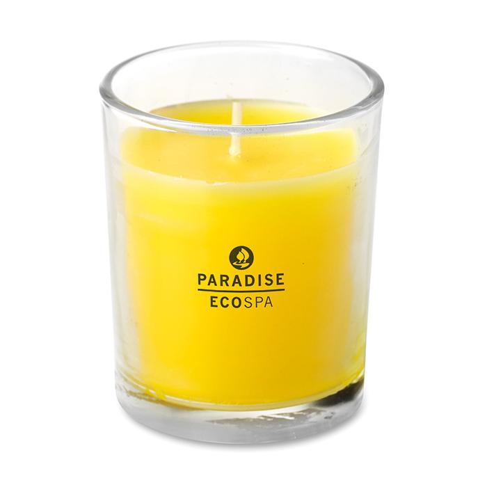 Kerze – im Glashalter (mit einem Logo bedruckbar als Werbeartikel)