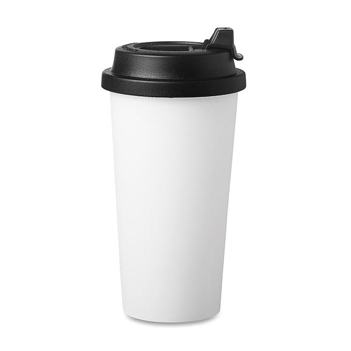 Doppelwandiger CoffeeToGo Becher aus Kunststoff zum bedrucken