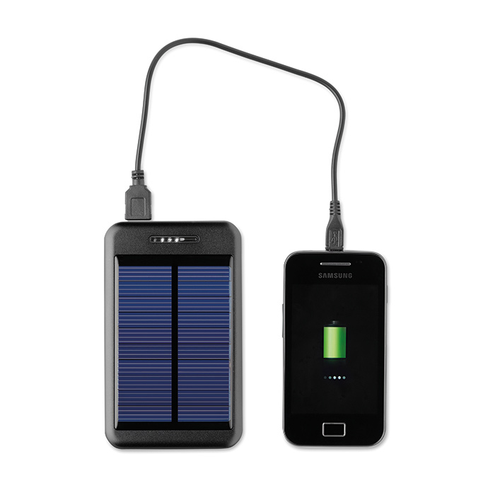 Solar Ladegerät – Mit 3 Anschlüssen als Werbeartikel (bedruckbar)