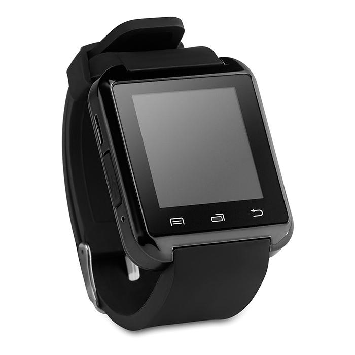 Schwarze Bluetooth Smartwatch Armbanduhr als Werbeartikel