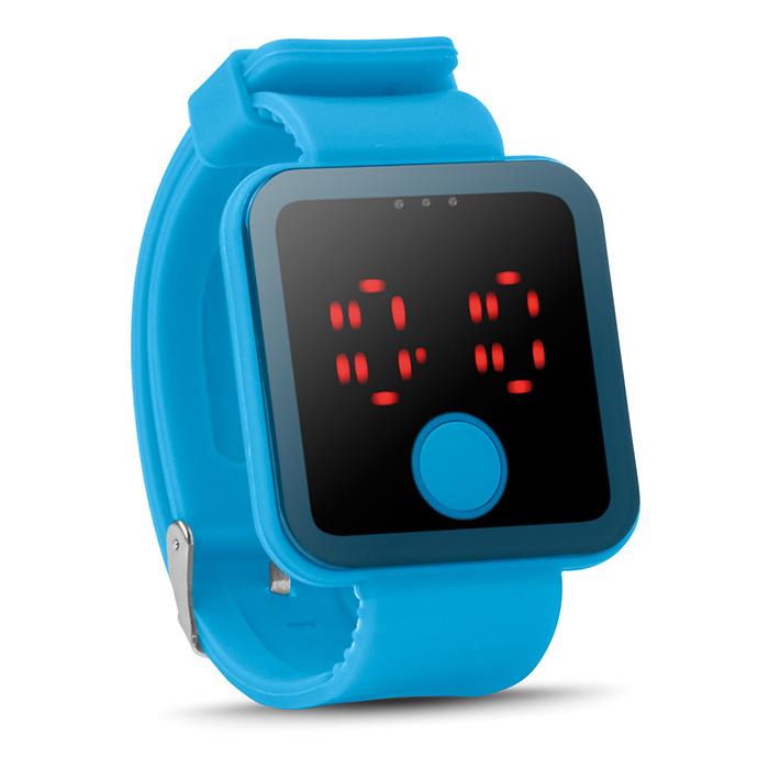 Hellblaue Bluetooth Smartwatch (bedruckbar als Werbegeschenk)