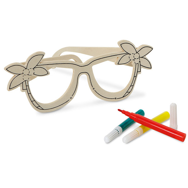 Holzbrille mit Filzstiften als Werbeartikel zum Bedrucken