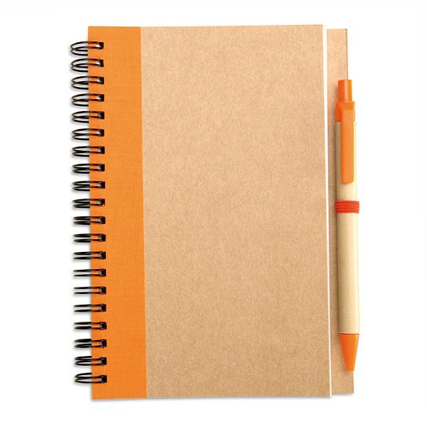 Notizbuch Öko aus Karton inklusive Kugelschreiber (bedruckbar)