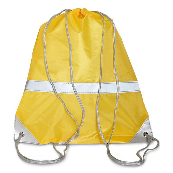 Reflektierender Turnbeutel für Schulkinder in gelb oder orange (bedruckbar)