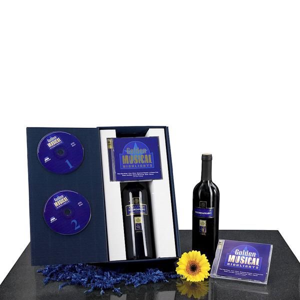 Rotwein Flasche mit Musik CD als Werbegeschenk