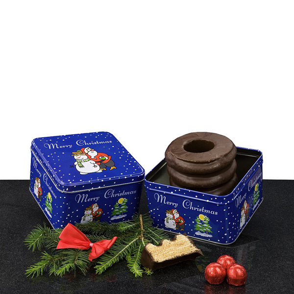 Baumkuchen in Geschenkdose als Werbepräsent für Weihnachten