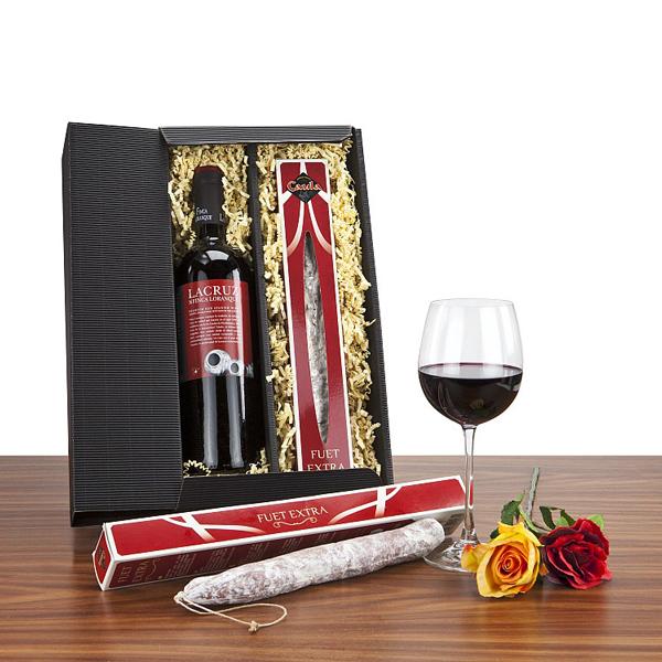 Spanischer Rotwein mit Salami als Werbepräsent