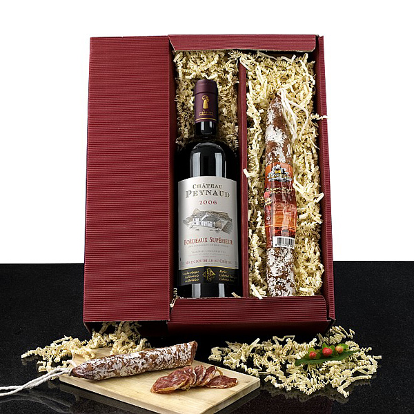 Rotwein – Salami Set als Werbegeschenk und Werbepräsent