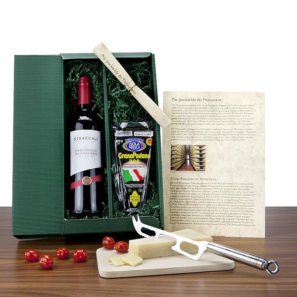 Rotwein Parmesan Geschenkset als Werbepräsent