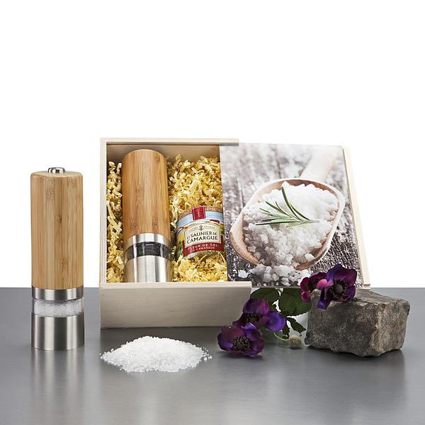 Salzmühle – Salzstreuer mit Salz als Werbepräsent