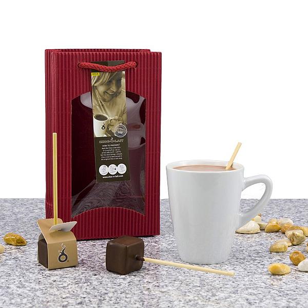 Schokoladen Stick mit Tasse als Werbepräsent